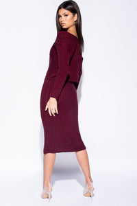 Wine Twist Front Rib Knit Co-Ord Set