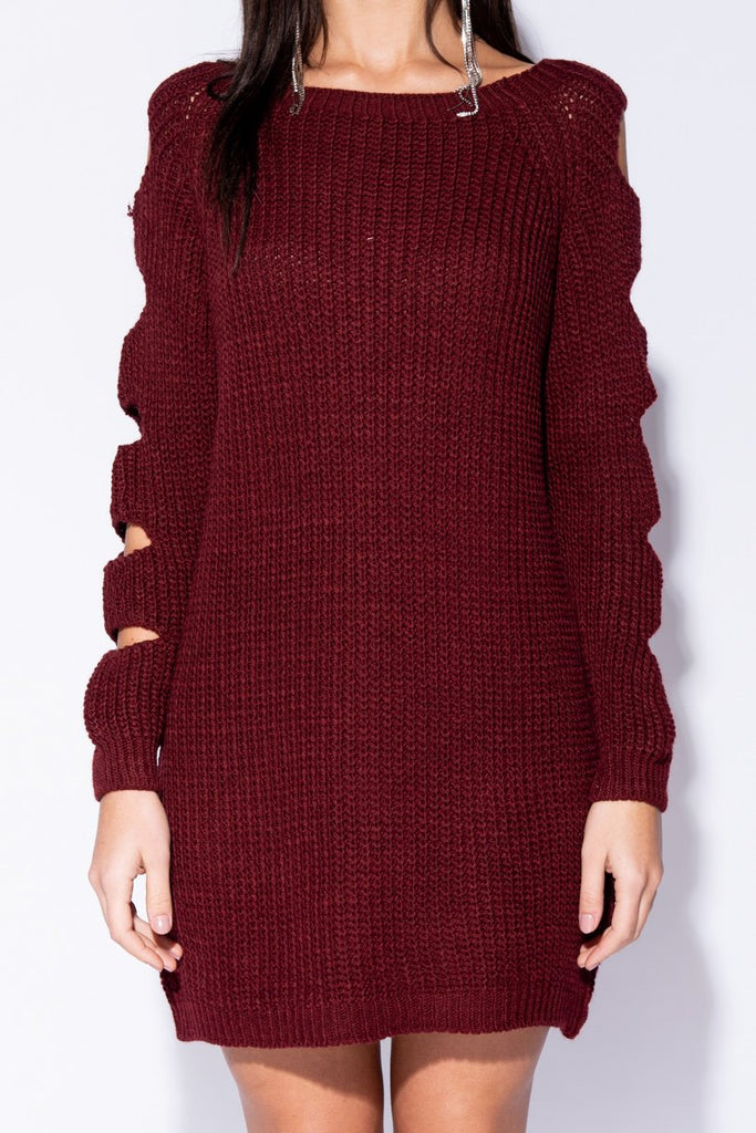 Wine Cut Out Sleeve Scoop Neck Jumper Dress