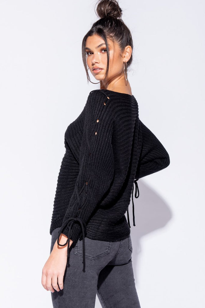 Image: Black Lace Up Detail Curved Hem Jumper - Parisian-uk