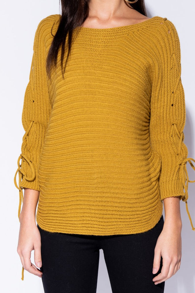Mustard Lace Up Detail Curved Hem Jumper