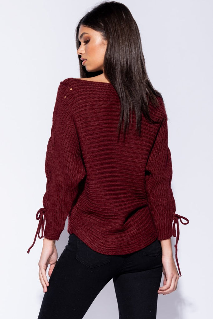 Image: Wine Lace Up Detail Curved Hem Jumper