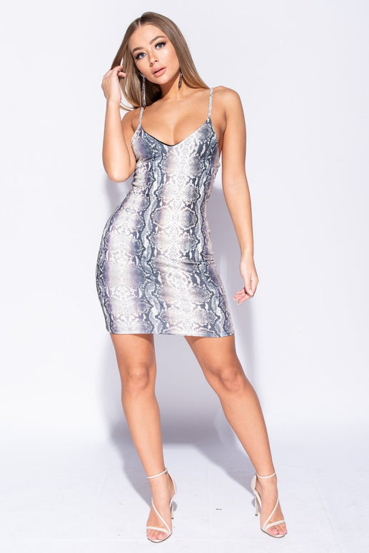 Image: Grey Snake Print Strappy V Neck Bodycon Dress - Parisian-uk