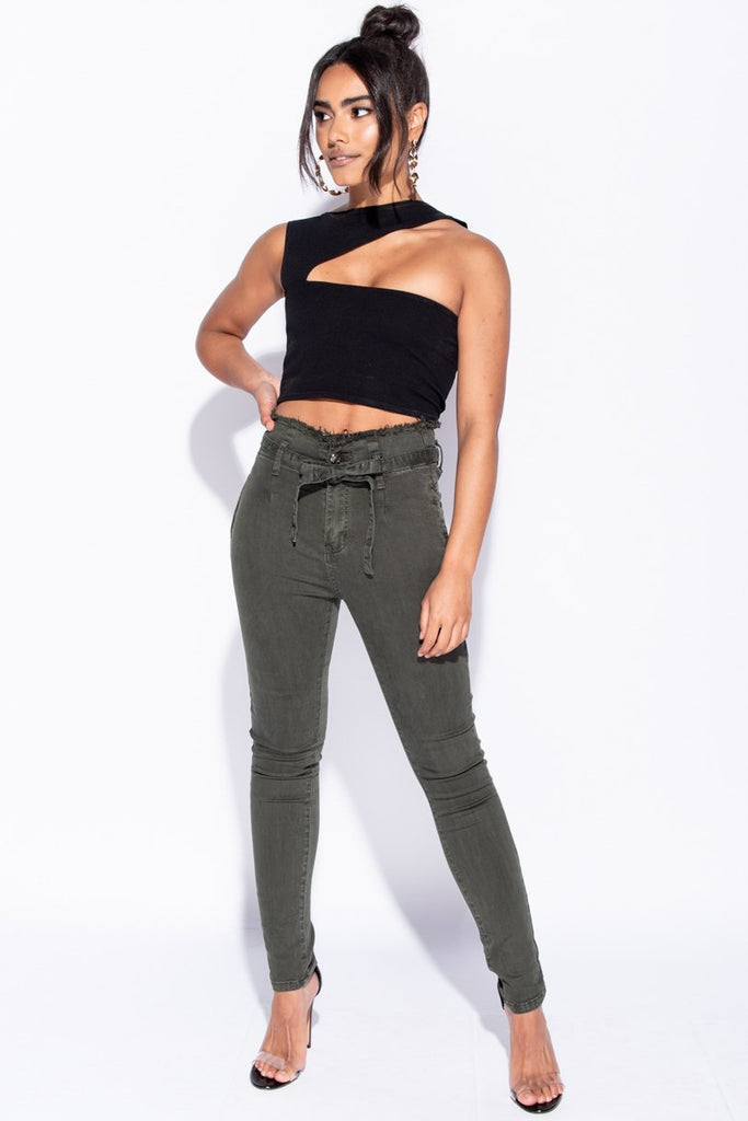 Image: Khaki High Waisted Paperbag Waist Belted Skinny Jeans