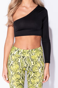 Black One Shoulder Long Sleeved Crop Top - Parisian-uk