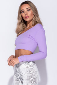 Lilac One Shoulder Long Sleeved Crop Top