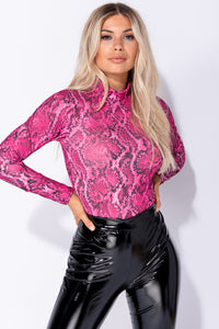 Pink Snake Print High Neck Bodysuit