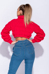 Neon Pink Bubble Knit Chunky Roll Neck Cropped Jumper