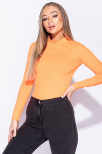 Neon Orange Rib Knit High Neck Long Sleeve Bodysuit