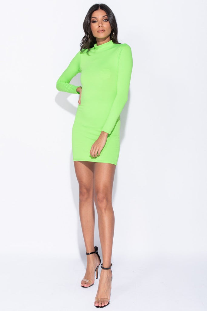 Image: Neon Green Long Sleeve High Neck Bodycon Mini Dress