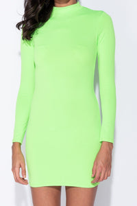 Neon Green Long Sleeve High Neck Bodycon Mini Dress