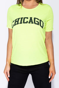 Neon Green Chicago Print T Shirt