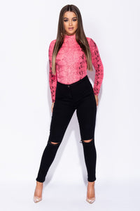 Neon Pink Snake Print High Neck Bodysuit