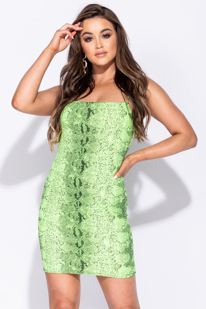 Image: Neon Green Snake Print Cami Style Bodycon Mini Dress