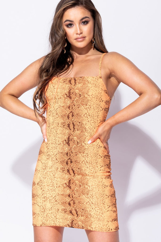Image: Neon Orange Snake Print Cami Style Bodycon Mini Dress