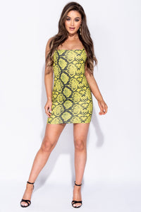 Green Snake Print Cami Style Bodycon Mini Dress - Parisian-uk