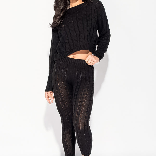 Stockists of Black Cable Knit Legging and Jumper Loungewear Set