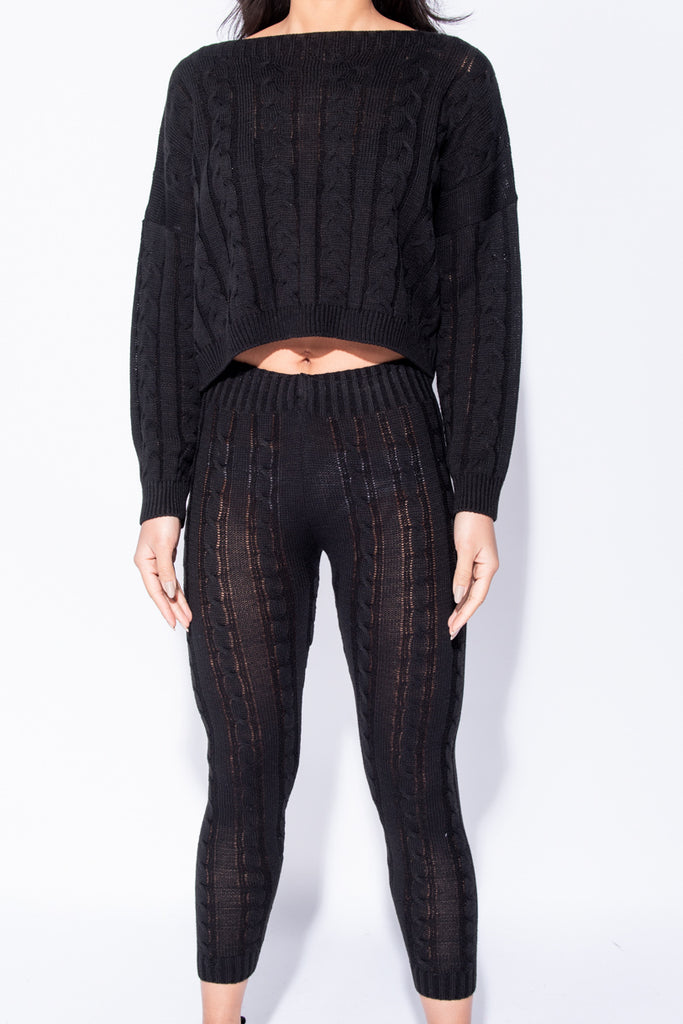 Image: Black Cable Knit Legging & Jumper Loungewear Set - Parisian-uk