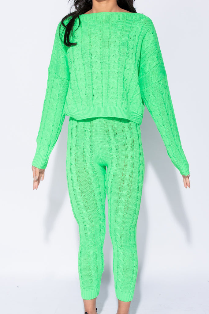 Image: Neon Green Cable Knit Legging & Jumper Loungewear Set