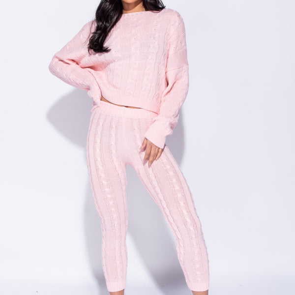 Stockists of Baby Pink Cable Knit Legging and Jumper Loungewear Set