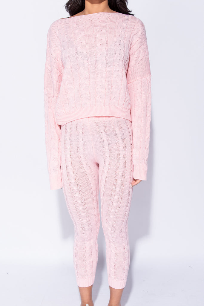 Image: Baby Pink Cable Knit Legging & Jumper Loungewear Set - Parisian-uk