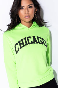 Neon Green Chicago Print Mid Length Hoodie