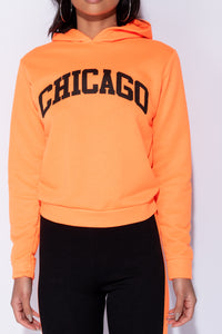 Neon Orange Chicago Print Mid Length Hoodie