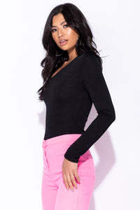 Black One Shoulder Long Sleeve Bodysuit - Parisian-uk