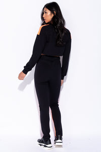 Black Orange Colour Block Detail Cropped Top & Leggings Set - Parisian-uk