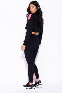 Black Pink Colour Block Detail Cropped Top & Leggings Set - Parisian-uk