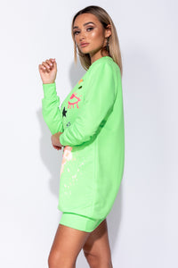 Neon Green Abstract Print Distressed Oversized Jumper Dress