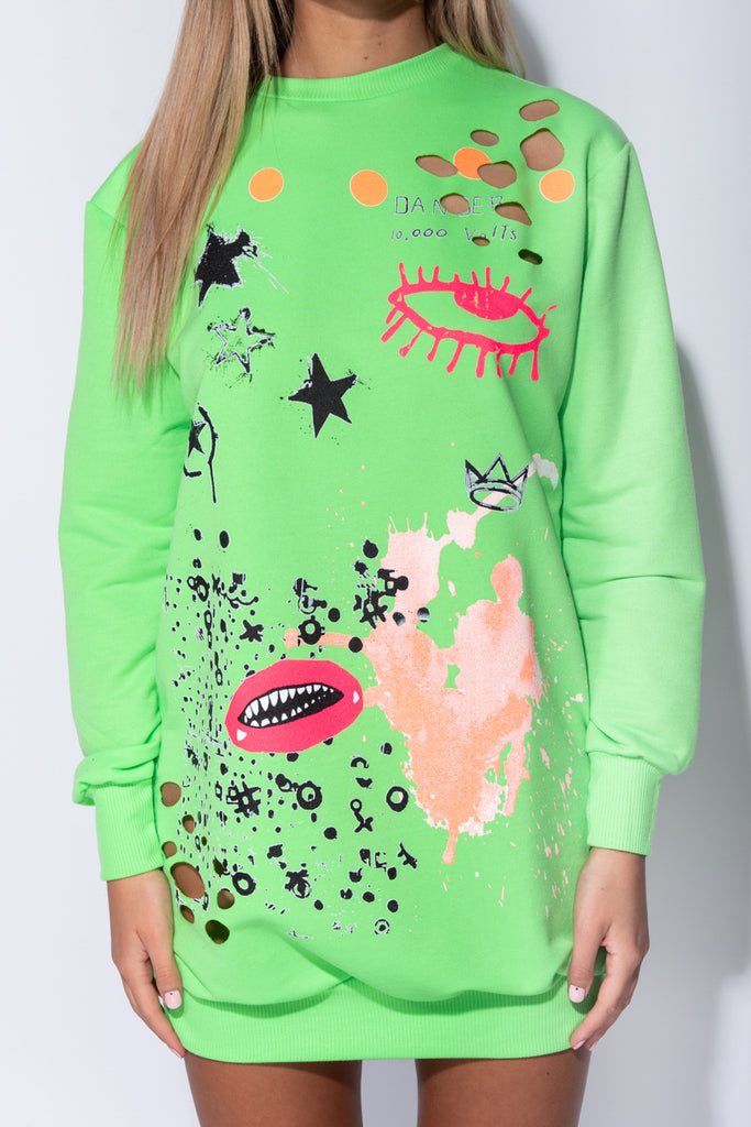 Image: Neon Green Abstract Print Distressed Oversized Jumper Dress