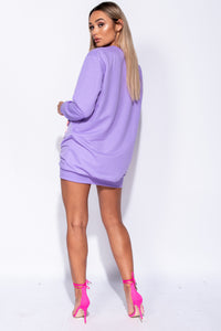Lilac Abstract Print Distressed Oversized Jumper Dress