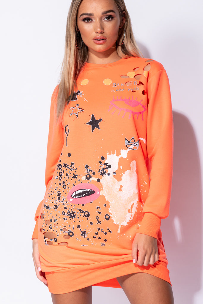 Image: Orange Abstract Print Distressed Oversized Jumper Dress