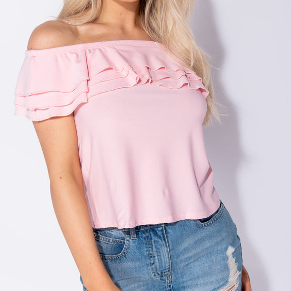 Stockists of Baby Pink Frill Detail Bardot Top