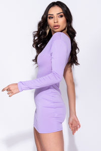 Lilac One Shoulder Long Sleeve Bodycon Mini Dress