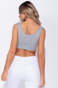 Grey Cut Out Front Rib Knit Crop Top