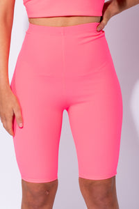 Neon Pink High Waist Stretch Cycling Shorts
