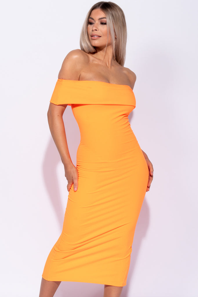 Image: Neon Orange Bardot Bodycon Mini Dress
