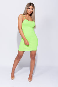 Neon Green Rib Knit Cami Style Bodycon Mini Dress