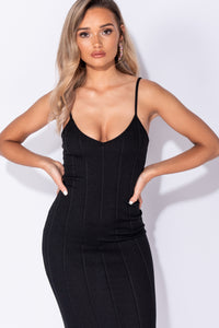 Black V Neck Strappy Bandage Bodycon Dress - Parisian-uk