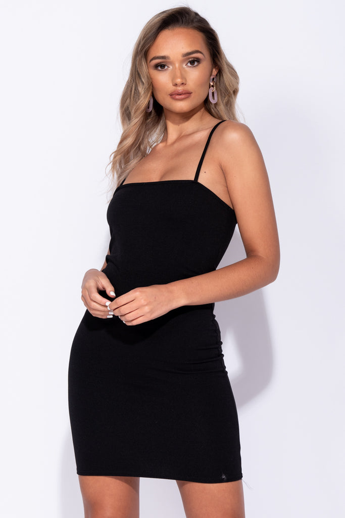 Image: Black Strappy Bodycon Mini Dress - Parisian-uk