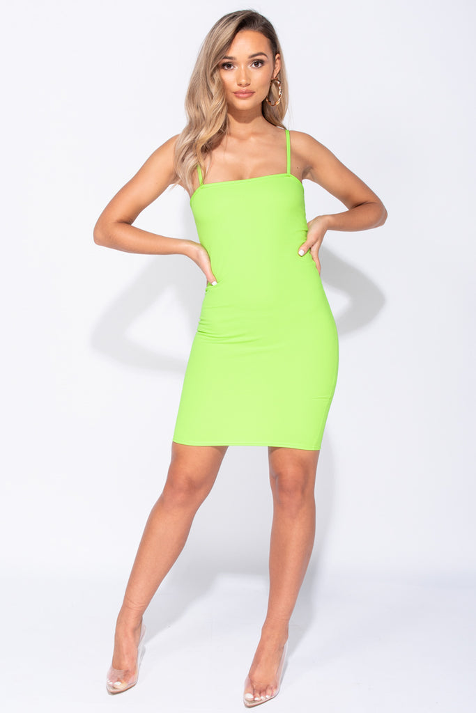 Image: Neon Green Strappy Bodycon Mini Dress