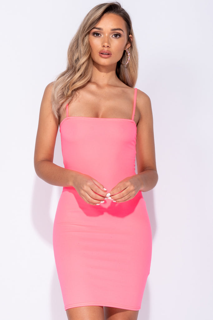 Image: Neon Pink Strappy Bodycon Mini Dress