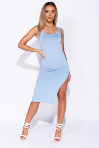 Powder Blue Thigh Split Scoop Neck Bodycon Midi Dress