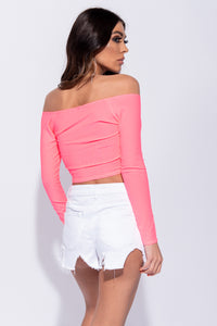 Neon Pink Bardot Ruched Detail Long Sleeve Crop Top
