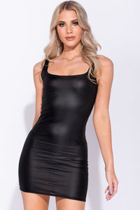 Black Wet Look Scoop Neck Bodycon Dress - Parisian-uk