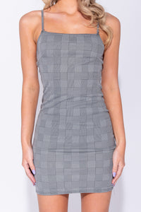 Grey Houndstooth Check Strappy Bodycon Mini Dress