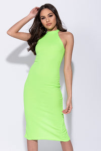 Neon Green Rib Knit High Neck Bodycon Midi Dress