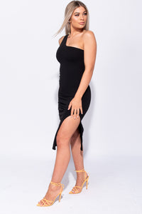 Black One Shoulder Thigh Split Bodycon Midi Dress - Parisian-uk