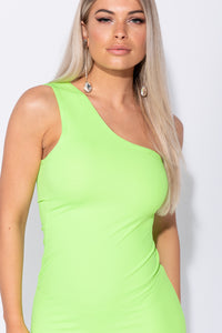Neon Green One Shoulder Thigh Split Bodycon Midi Dress